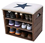 LIZA LINE SHOE RACK (Walnut Brown) - Premium Wooden Shoes Organizer, Storage, Cabinet, Holder Bench with Soft Seat Cushion for Entryway, Hallway. Solid Nordic Wood. 17 x 20 x 21 inch (Black Star)