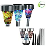 3pcs waterproof Stainless Steel Solar glass Mosaic Decoration Stake Light ,Led lights With 3 Color Mosaic Lampshade, Color changing Decoration for Outdoors
