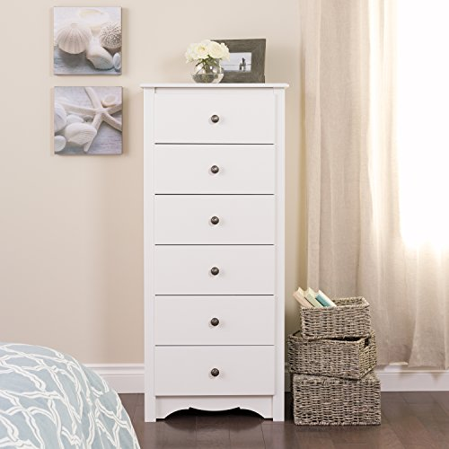 White Monterey Tall 6 Drawer - Drawer Six Tall Dresser