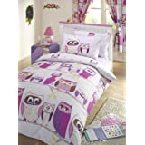 Kids Hoot Owl Duvet Cover Set Lilac, Pink, Double Bed by Kids Club