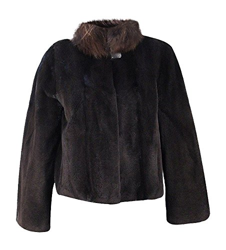 New Women's Sheared Mink Fur Jacket w/ Sable Fur Collar 10 Medium Black