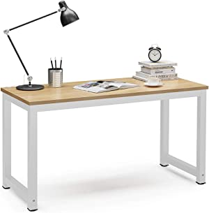 Tribesigns Computer Desk, 55 inch Large Office Desk Computer Table Study Writing Desk for Home Office, Walnut + White Leg