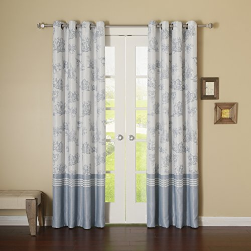 French Toile Curtains (Best Home Fashion Toile Thermal Insulated Blackout Curtain - Antique Bronze Grommet Top - Sky Blue - 52