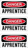 danger apprentice, I Make DecalsTM, 3 pack, funny, humor, Hard Hat, lunch box, tool box, Helmet Stickers 1 inch x 2 inch