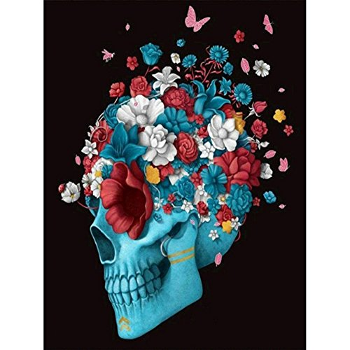 Ingzy Blue Skull Diamond Painting Kits for Adults Crystal Picture Partial Drill Artwork - Bone with Growing -