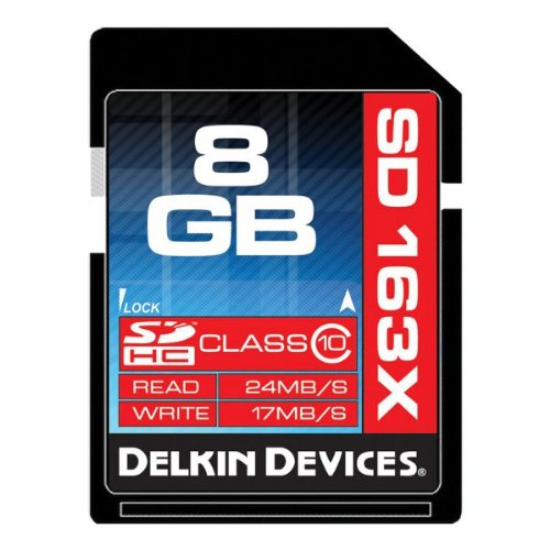 Delkin 8 GB Secure Digital (SD) PRO Class 10 163X Memory Card DDSDPRO3-8GB Delkin Devices Secure Digital Card