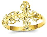 ICE CARATS 14k Yellow Gold Crucifix Cross Religious Band Ring Size 6.00 Fine Jewelry Gift Set For Women Heart