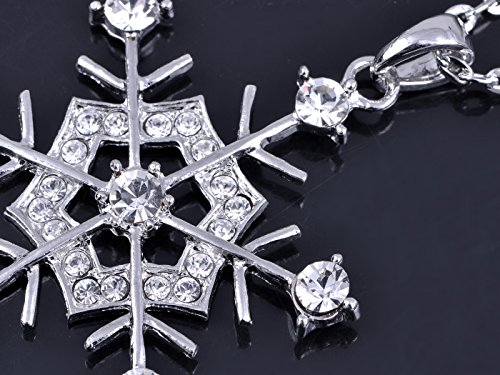 Alilang Ensemble collier + boucles d'oreille avec cristaux Swarovski, motif flocon de neige