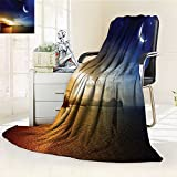 AmaPark Digital Printing Blanket Serene with Lunar and Star Holy Sky over Blue Orange Summer Quilt Comforter