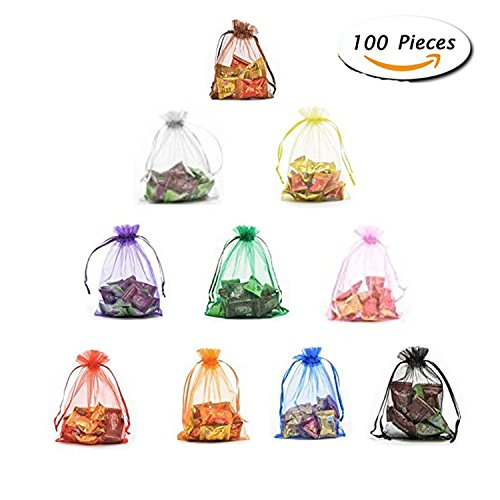 CHUQ 100pcs Mix Color organza bags for Jewelry Candy Pouch P