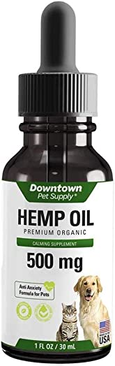 Downtown Pet Supply 500 or 1000 MG of Hemp Oil for Dogs and Cats – Hemp Oil for Stress, Anxiety, Calming Support Relief – Natural Omega 3 and Supports Hip Joint Health