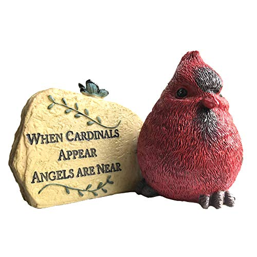 Cardinal Desk Rock - When Cardinals Appear Angels are Near - Memorial Sentiment with Red Cardinal Design - in Loving Memory of a Loved One