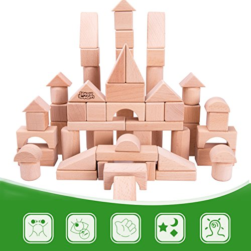 iPlay, iLearn Kids Wooden Building Block Set, 72 PCS Wood Castle Blocks Kit, Natural Wooden Stacking Cubes, Educational Montessori Toy for Age 3, 4, 5 Year Olds Up, Children, Preschoolers, Boys, Girls