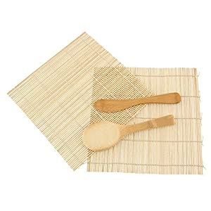 JapanBargain Brand - Sushi Rolling Kit - 2x rolling mats, 1x rice paddle, 1x spreader - natural from JapanBargain