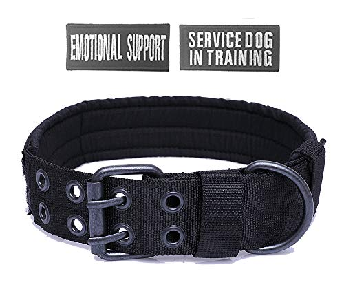 Slip Free Adjustable Collar - Antrix Tactical Dog Collar Heavy Duty Nylon Military Adjustable No Slip Training Working Traveling Dog Collar for Medium and Large Dogs with Free Patches (M(Girth 14.5