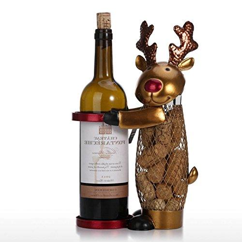 (Animal Shape Wine Bottle Cork Storage Container Holder Cage Reindeer Elk Net Metal Iron Handcraft Gift Home)