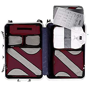 BAGAIL 6 Set Packing Cubes Multi-Functional Luggage Packing Organizers with Shirt Bag for Travel Accessories