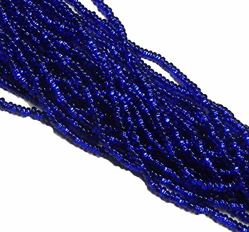 Cobalt Blue Silver Lined Czech 6/0 Seed Bead on Loose Strung 6 String Hank Approx 900 Beads - Lined Czech Seed
