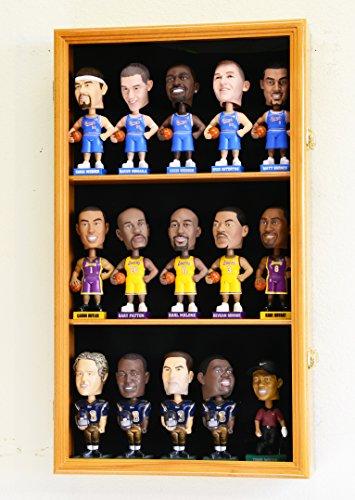 Bobble Head Figurine Display Case Cabinet Holder Wall Rack Bobblehead 98% UV Lockable -Oak