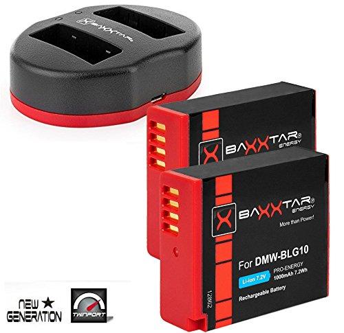 Baxxtar Pro - Batteria 2X (1000mAh) per Panasonic DMW BLG10 E con doppia porta 1834/2 caricabatterie USB - Per Panasonic Lumix DC LX100 II GX9 TZ200 TZ90 DMW TZ100 TZ80 GF6 GX7 GX80 LX100 S6 ecc. Bundlestar