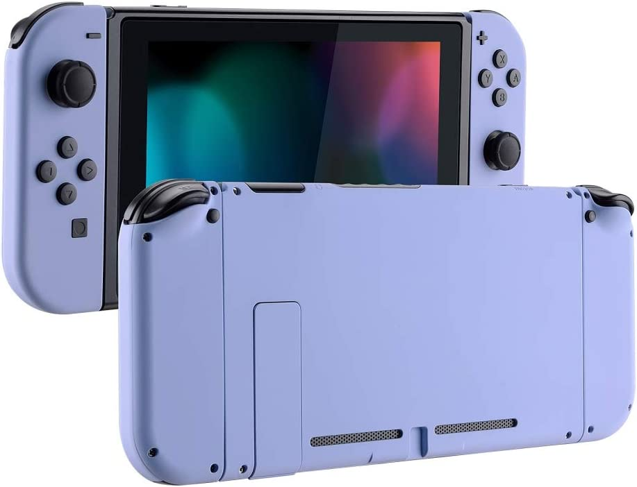 eXtremeRate Soft Touch Grip Back Plate for Nintendo Switch Console, NS Joycon Handheld Controller Housing with Full Set Buttons, DIY Replacement Shell for Nintendo Switch - Light Violet: Video Games