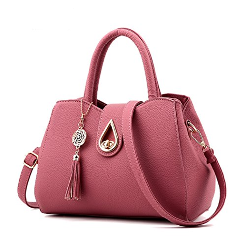 Tote with Handbag Pink Bag Faux Women Dark Leather Purse Messenger Bags New Shoulder Women Heart HIAqwPR