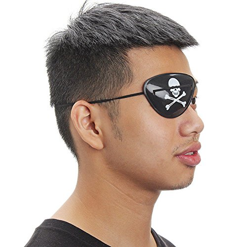 Pirate Eye Patch - 1pc Party Cosplay Custume Pirate Eye Patch Mask Eyeshade Cover Plain Amblyopia Skull Patches - Kids Girl Single Earing Patches Dogs Favors Adults Through Party Sword Pink Wome ()