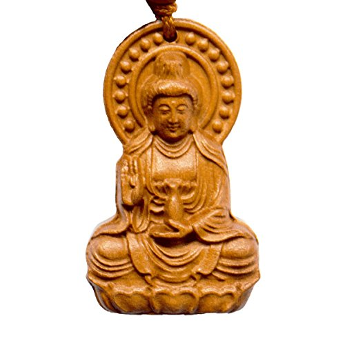 Handmade Rosewood Carved Buddha Lucky Charm,Bring Good Luck, Money and Love in Your Life, Crafted at Thailand Temple (C)