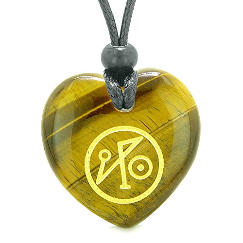 Archangel Michael Sigil Magic Amulet Planet Energy Puffy Heart Tiger Eye Pendant Adjustable Necklace Magic Amulets