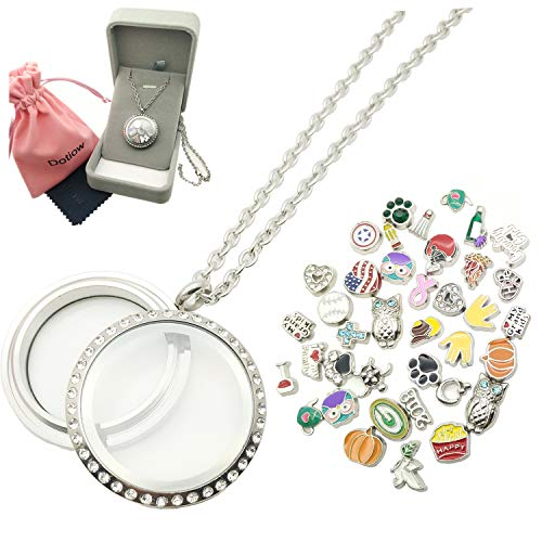 Dotiow 30mm Round Floating Locket w/ 50pcs No Duplicated Floating Charms 24inch Stainless Steel Chain Birthday Xmas Gift£¨Twist-Style£ -