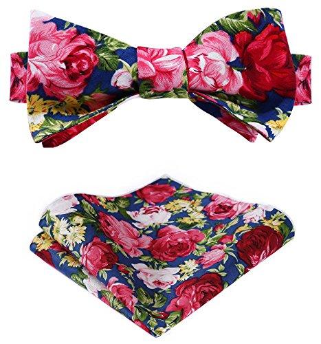 HISDERN Mens Cotton Floral Printing Wedding Party Self Bow Tie Pocket Square Set