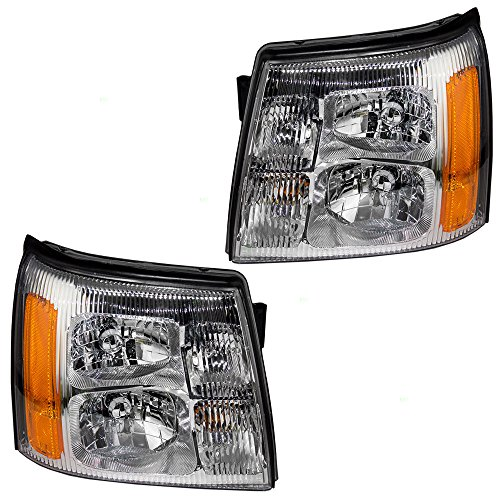 Halogen Headlights Headlamps Driver and Passenger Replacements for 2002 Cadillac Escalade & EXT SUV Pickup Truck 15181851 15181850