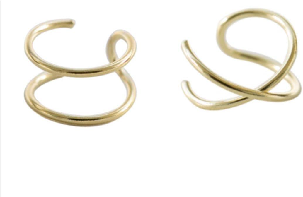 HOMEYU/® Brassard /à Oreille Double en Argent Sterling 925 et Poignets crois/és /à loreille Non perforants Boucle doreille en Faux Cartilage