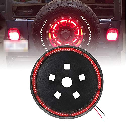 (Spare Tire Brake Light Wheel Light 3rd Third Brake Light for Jeep Wrangler 2007-2017 JK JKU YJ TJ,Red Light)