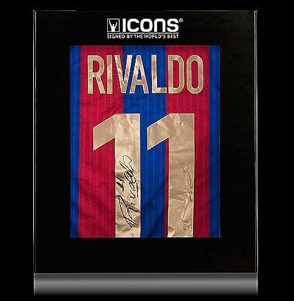 491b9fd46bd Rivaldo Back Autographed Signed Modern FC Barcelona Home Shirt In ...