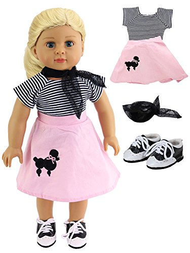 Classic Poodle Skirt Outfit | Includes Shirt,Shoes,Skirt,& Scarf| Fits 18