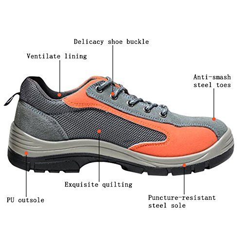 Optimal Toe Shoes Men's Work Orange Shoes Comp Safety Shoes Steel Gray OZr0qO