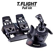 ThrustMaster - Pack Thrustmaster: T.Flight Full Kit Joystick de alta precisión T.Flight Hotas X + pedales de timón con sistema de raíles deslizantes para PC T.Flight Rudder Pedals (Windows)
