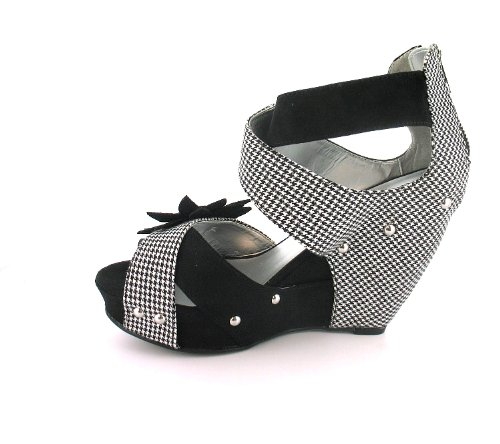 New Ladies Womens Noir/rubis Shoo Wedge Sandals Cage Sangle noir-Tailles :  3-8