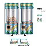 vanfan bath sets Polyester rugs shower curtain Arcade game machine dolls Illustration shower curtains sets bathroom 72 x 108 inches&31.5 x 19.7 inches(Free 1 towel 12 hooks)