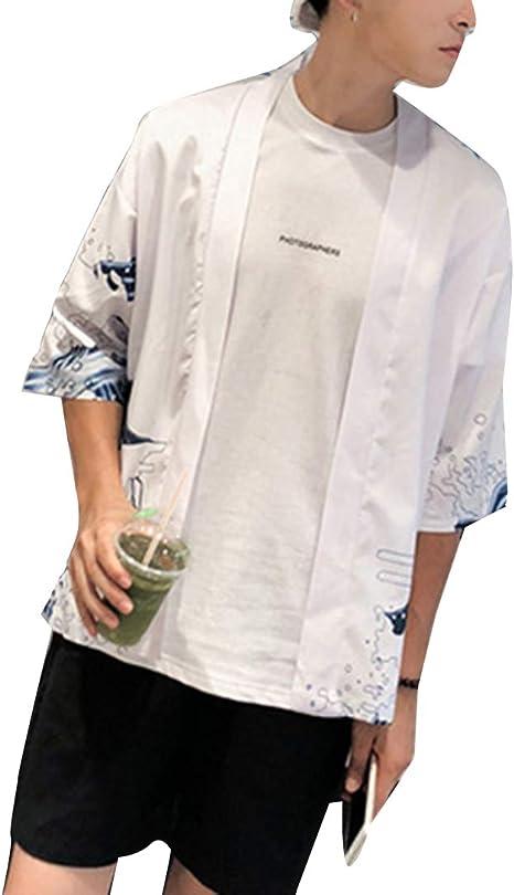Abrigo de Manga Corta de Verano para Hombre Pareja Japonesa literaria y Camisa de Viento Kimono Ropa de protección Solar Suelta: Amazon.es: Ropa y accesorios