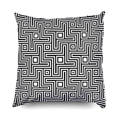- Shorping Pillow Covers,20x20 Pillowcase Decorative Pillowcase for Home Décor Cusion Covers Blocks Wallpaper Repeated White Figures Abstract on Black Background Seamless Surface Pattern Design