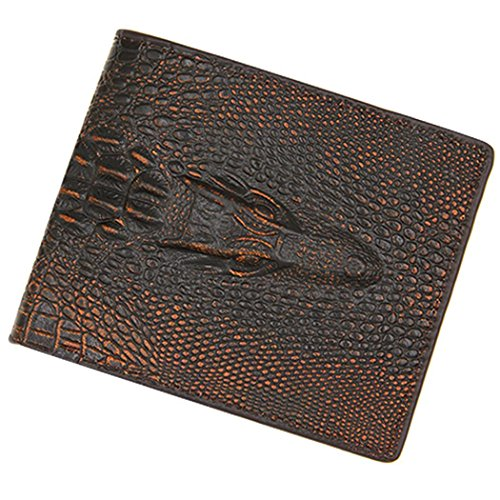 Men's Casual Fashion Alligator Pattern Two-Folded Magnetic Buckle Short Wallet by Bulges