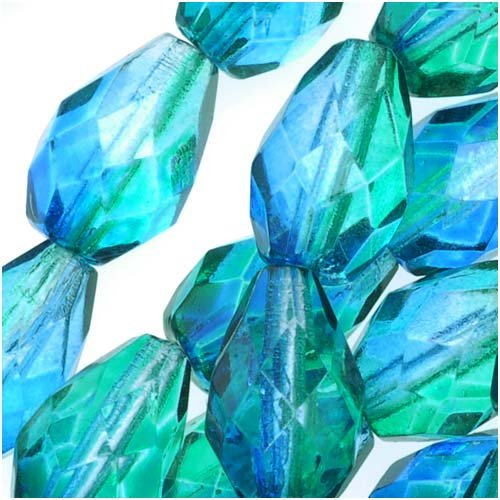 Polish Fire Drop - Czech Fire Polish Glass Beads 10 x 7mm Teardrop Blue Green (12)