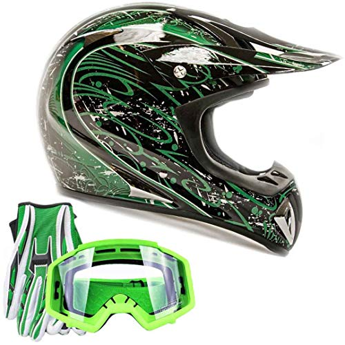 Adult Offroad Helmet Goggles Gloves Gear Combo Gloss Green w/Green ()