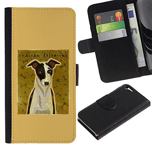 LASTONE PHONE CASE / Luxe Cuir Portefeuille Housse Fente pour Carte Coque Flip Étui de Protection pour Apple Iphone 5 / 5S / Italian Greyhound Art Poster Dog Small