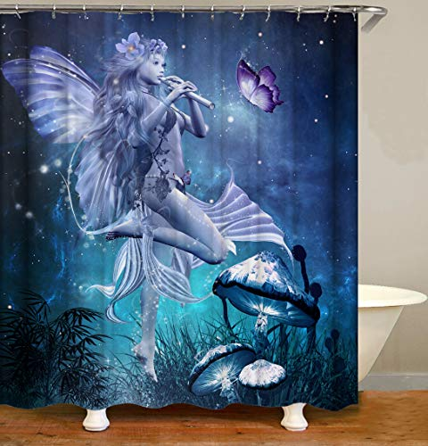 Fairy Girl Shower Curtain Decor,Sexy Angel Playing Flute Fantasy Starry Sky Butterfly Mushroom Night Scenery Blue Fabric Bathroom Curtains,Waterproof Polyester Bath Curtain Set with Hooks 70x70 Inch