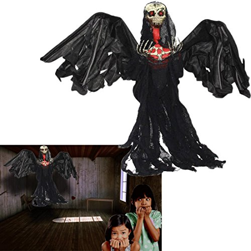 With Wings Flying Reaper Prop (Grim Reaper Ghoul Animated Halloween Prop with Flashing Eyes - Black Flying Skeletal Ghost Creepy Halloween Decoration - 3 ft. Party Prop)