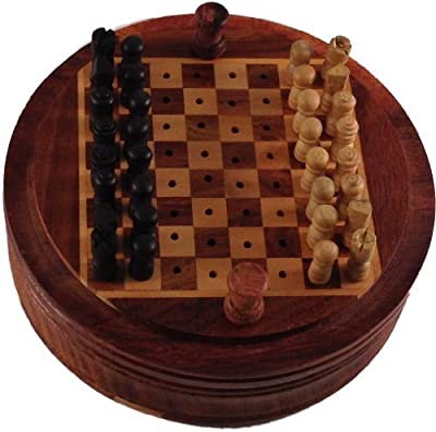 Tiger54 Unique Round Miniature Wood Chess Box for Table Chess, 4.5 Inch Wide