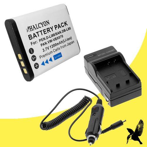 Halcyon 1200 mAH Lithium Ion Replacement Battery and Charger Kit for Sanyo Dual Camera Xacti 720p HD VPC-CG10 Digital Camcorder and Sanyo - Camcorder Cg10